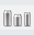 3d aluminum cans realistic can mockups in 3 size vector image
