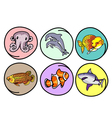 A Set of Aquatic Animal on Round Background vector image
