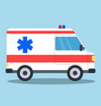 ambulance van side view with blue and red siren vector image