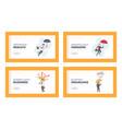 businessmen characters under umbrella landing page vector image vector image