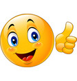 cartoon emoticon giving thumb up vector image