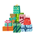 cartoon present gift box ribbon bow pile vector image