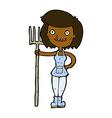 comic cartoon happy farmer girl vector image vector image