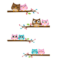 couples owls sitting on branches vector image