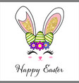 cute easter bunny face with glitter ears easter vector image