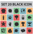 different explosions black icons in set collection vector image vector image