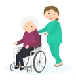 Disabled old woman Handicapped senior woman in a vector image vector image