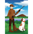 duck hunter with his dog vector image