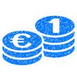 euro coins grunge icon vector image vector image