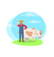 farmer with cow on field cartoon icon vector image vector image