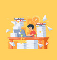 flat stressful busy young man workload at work vector image