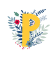 floral alphabet letter p vector image vector image