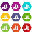 gift box in hand icon set color hexahedron vector image vector image