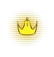 Golden crown comics icon vector image vector image