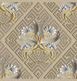 greek vintage floral 3d seamless pattern light vector image