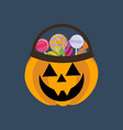 halloween pumpkin and candies vector image vector image