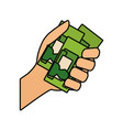 hand with id cards icon vector image vector image