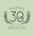 happy anniversary number thirty with wreath crown vector image