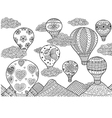 hot air balloon coloring vector image vector image