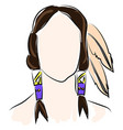 indian with feathers on white background vector image vector image