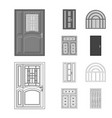isolated object of door and front sign collection vector image vector image