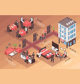 isometric hotel horizontal background vector image vector image