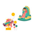 kids jumping in bouncer and riding spring horse vector image vector image