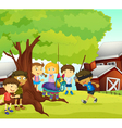 Kids playing in nature vector | Price: 1 Credit (USD $1)