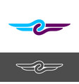 knot style logo with wings two color ropes with vector image