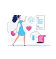 modern girl - modern flat design style vector image vector image