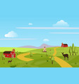 mountains hills green farm field landscape sky vector image