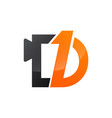 number one and letter d in black orange color logo vector image