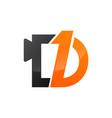number one and letter d in black orange color logo vector image vector image