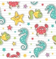 pattern of sea creatures vector image vector image