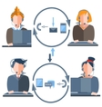 People call center gadgets arrow man woman vector image