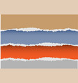 realistic brown blue orange gray paper torn vector image vector image