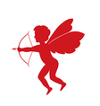 red cupid - silhouette vector image
