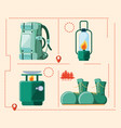 set accessories of camping zone vector image
