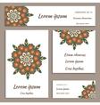 Set of greeting cards flyers ornamental mandala vector image
