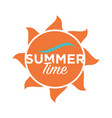 summer time logo design text written on cartoon vector image