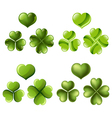 Three and four leaf clover set vector image vector image