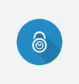 time lock Flat Blue Simple Icon with long shadow vector image