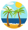 two palms in the summer beach vector image