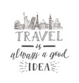 world travel and sights tourism banner with hand vector image vector image