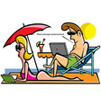 Young couple relaxing on the beach vector image vector image