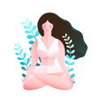 young woman practice yoga in nature flat design vector image