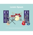 Rock band musical instruments in flat style vector image