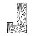 wooden letter j engraving vector image
