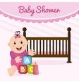 Baby girl cartoon of baby shower concept vector image