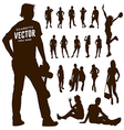 Silhouette Motion people background vector image
